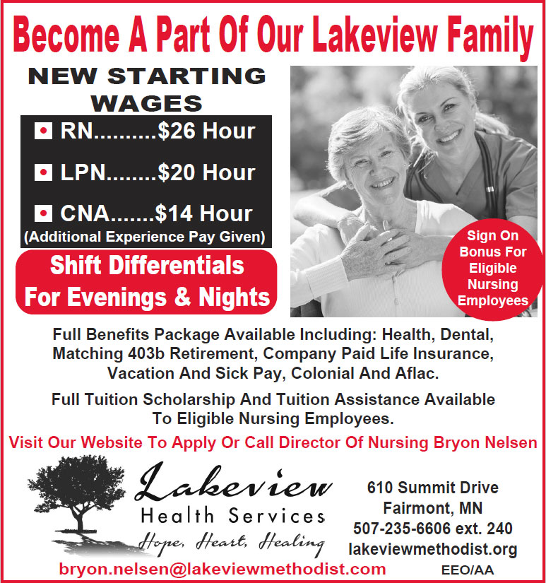 Full time openings - RN $26/hr, LPN $20/hr, CNA $14/hr.