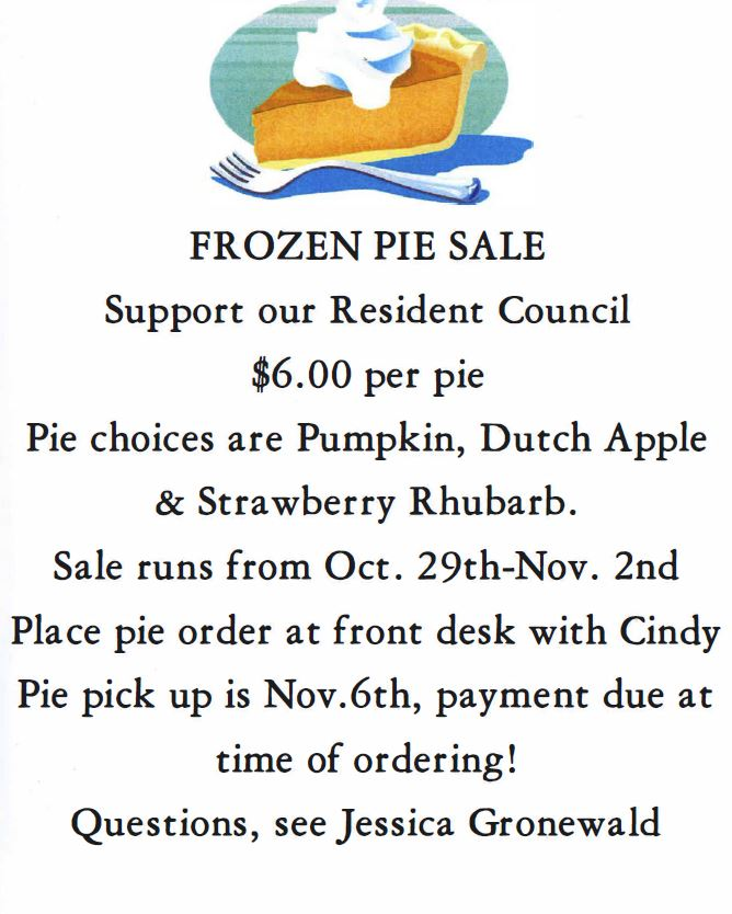 frozen pie sale - oct 29 through nov 2, 2018.
