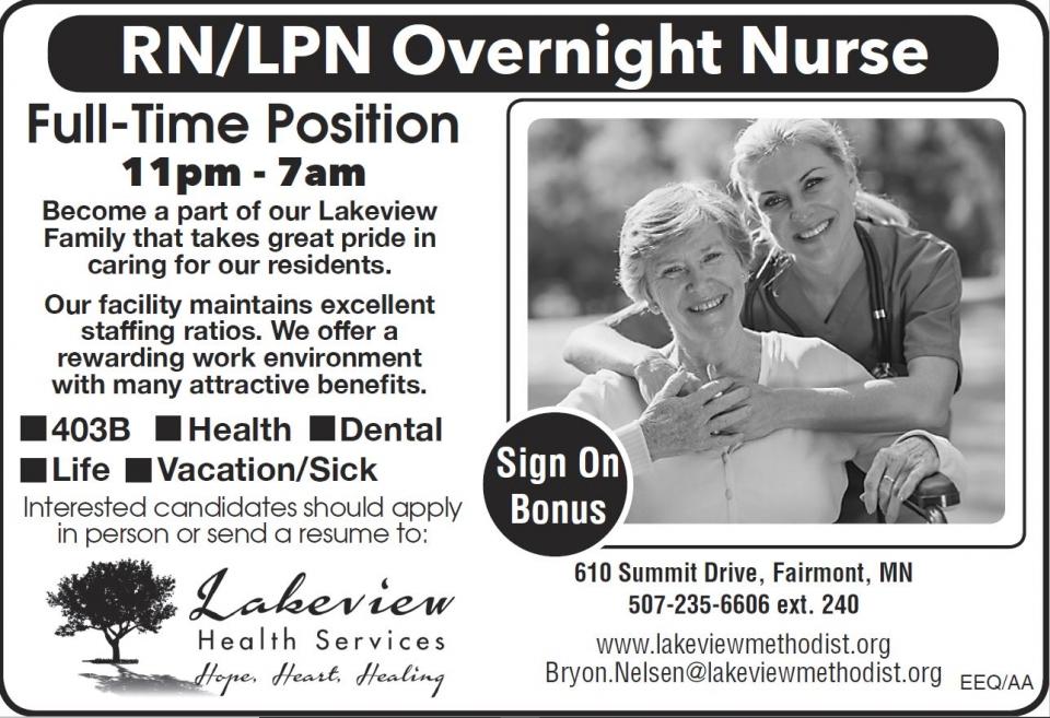 RN/LPN Overnight Nurse Opening - Fairmont, MN.
